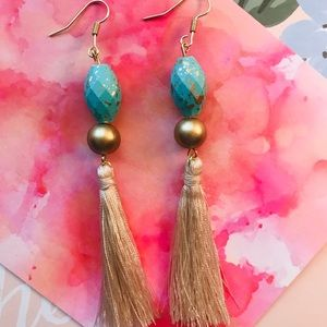 Turquoise and gold with fringe earrings